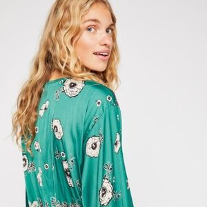 Free People 'Twist and Shout' Teal Shirt Blouse